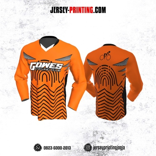 Jersey Gowes Sepeda Orange Hitam Putih Zigzag Lengan Panjang