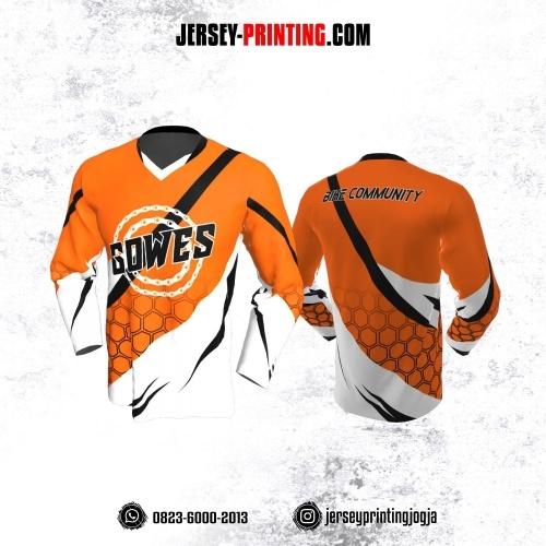 Jersey Gowes Sepeda Orange Putih Hitam Hexagon Lengan Panjang