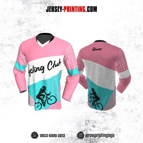 Jersey Gowes Sepeda Pink Biru Putih Batik Lengan Panjang