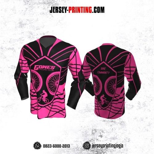 Jersey Gowes Sepeda Pink Hitam Garis Lengan Panjang