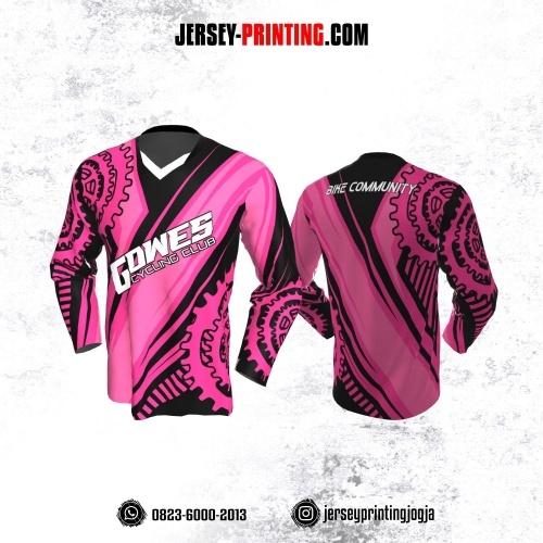 Jersey Gowes Sepeda Pink Hitam Gir Lengan Panjang