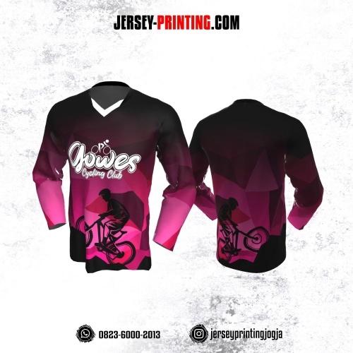Jersey Gowes Sepeda Pink Hitam Lengan Panjang