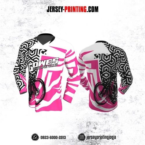 Jersey Gowes Sepeda Pink Hitam Putih Hexagon Lengan Panjang