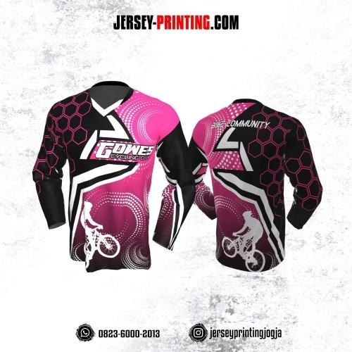 Jersey Gowes Sepeda Pink Hitam Putih Honeycomb Lengan Panjang