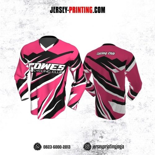 Jersey Gowes Sepeda Pink Hitam Putih Lengan Panjang