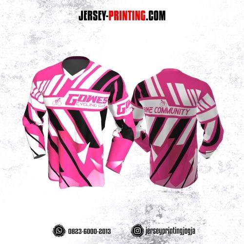 Jersey Gowes Sepeda Pink Hitam Putih Strip Lengan Panjang