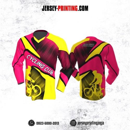 Jersey Gowes Sepeda Pink Kuning  Hitam Garis Lengan Panjang