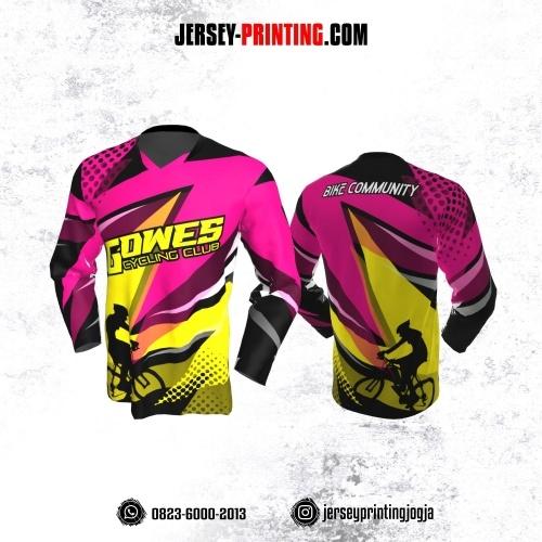 Jersey Gowes Sepeda Pink Kuning Lengan Panjang