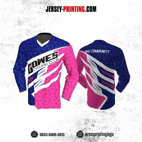 Jersey Gowes Sepeda Pink Navy Biru Tosca Garis 3D  Lengan Panjang