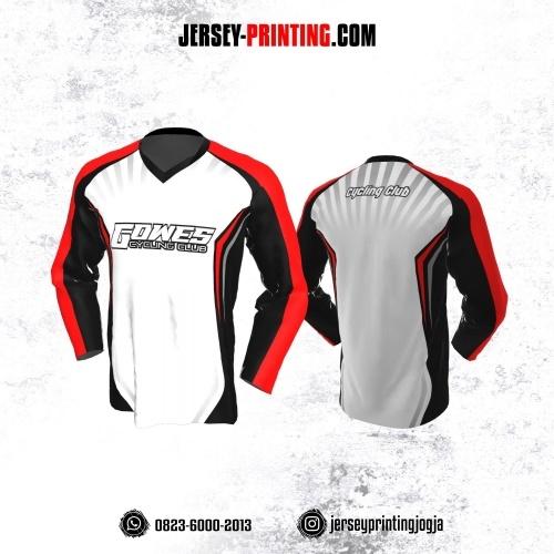 Jersey Gowes Sepeda Putih Abu Merah Hitam Lengan Panjang