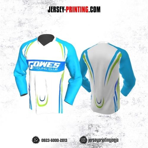 Jersey Gowes Sepeda Putih Biru Hijau Lengan Panjang