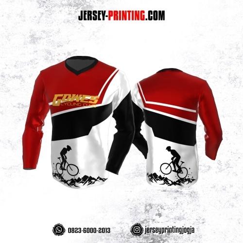 Jersey Gowes Sepeda Putih Corak Merah Hitam Lengan Panjang