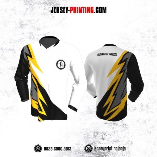 Jersey Gowes Sepeda Putih Hitam Kuning Abu Lengan Panjang