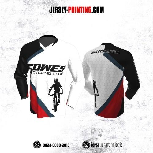 Jersey Gowes Sepeda Putih Hitam Merah Abu Honeycomb Lengan Panjang