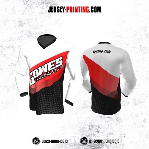 Jersey Gowes Sepeda Putih Merah Abu Hitam Lengan Panjang