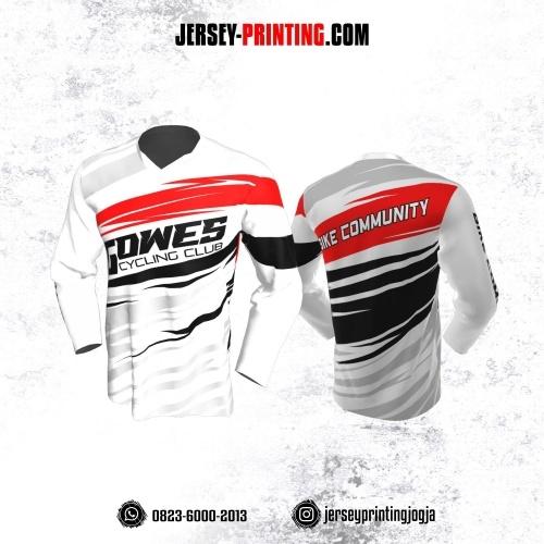 Jersey Gowes Sepeda Putih Merah Hitam Abu  Lengan Panjang