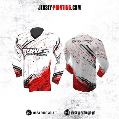 Jersey Gowes Sepeda Putih Merah Hitam Lengan Panjang