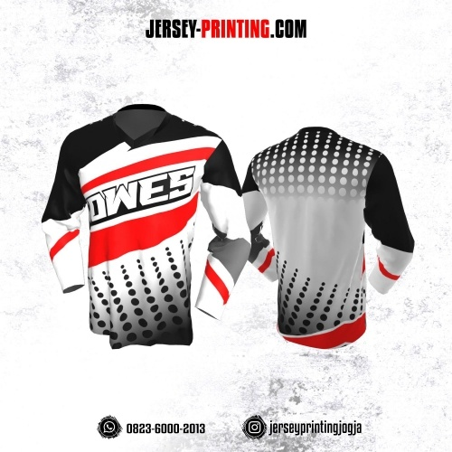 Jersey Gowes Sepeda Putih Merah Hitam Polkadot Lengan Panjang