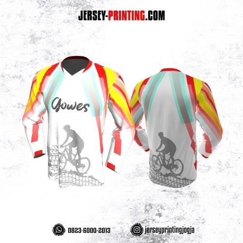 Jersey Gowes Sepeda Putih Merah Kuning Strip Lengan Panjang