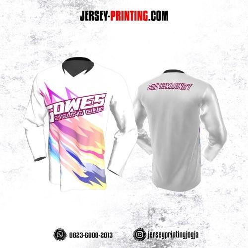 Jersey Gowes Sepeda Putih Pink Biru Lengan Panjang