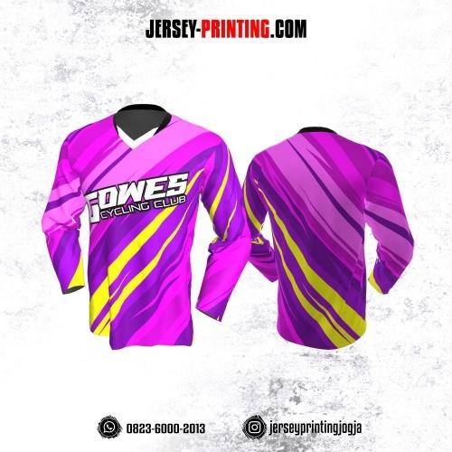Jersey Gowes Sepeda Ungu Pink Kuning Lengan Panjang