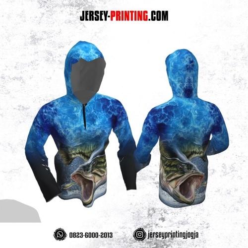 Jersey Hoodie Kupluk Mancing Fishing Angler Biru Gradasi Lengan Panjang