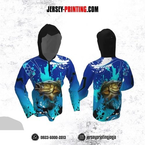 Jersey Hoodie Kupluk Mancing Fishing Angler Biru Motif Splash Tinta Hitam Putih Lengan Panjang
