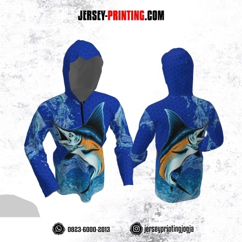 Jersey Hoodie Kupluk Mancing Fishing Angler Biru Navy Motif Honeycomb Lengan Panjang