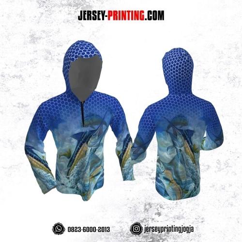 Jersey Hoodie Kupluk Mancing Fishing Angler Biru Navy Putih Motif Honeycomb Lengan Panjang