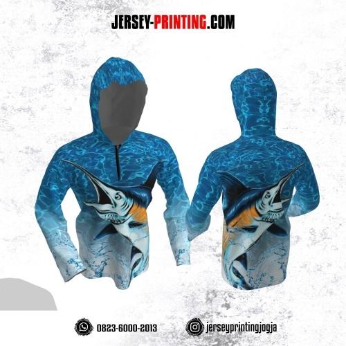 Jersey Hoodie Kupluk Mancing Fishing Angler Biru Putih Motif Air Lengan Panjang