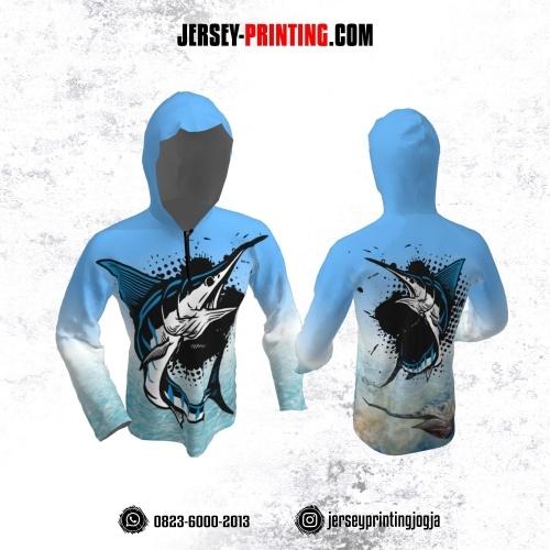 Jersey Hoodie Kupluk Mancing Fishing Angler Biru Putih Motif Polkadot Hitam Lengan Panjang