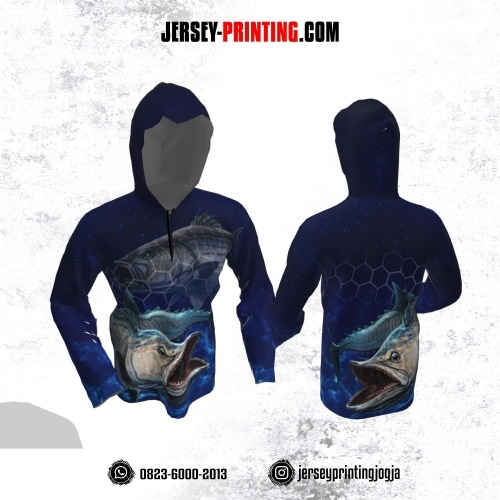 Jersey Hoodie Kupluk Mancing Fishing Angler Navy Motif Hexagon Lengan Panjang