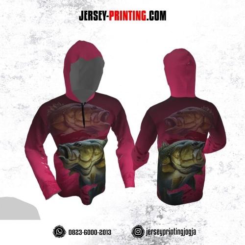 Jersey Hoodie Kupluk Mancing Fishing Angler Pink Lengan Panjang