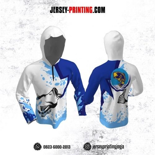 Jersey Hoodie Kupluk Mancing Fishing Angler Putih Biru Motif Percikan Air Lengan Panjang