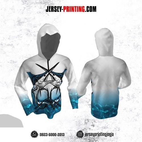 Jersey Hoodie Kupluk Mancing Fishing Angler Putih Gradasi Biru Aqua Lengan Panjang