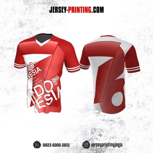 Jersey HUT RI 76 Kemerdekaan Indonesia 17 Agustus Merah Corak Putih
