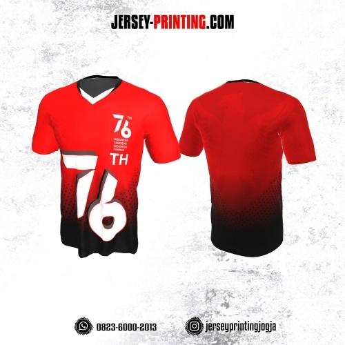 Jersey HUT RI 76 Kemerdekaan Indonesia 17 Agustus Merah Hitam Putih Motif Polkadot