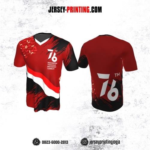 Jersey HUT RI 76 Kemerdekaan Indonesia 17 Agustus Merah Hitam Putih Motif Brush