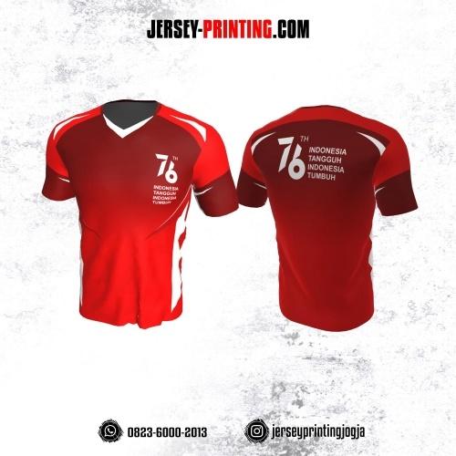 Jersey HUT RI 76 Kemerdekaan Indonesia 17 Agustus Merah Kombinasi Corak Putih