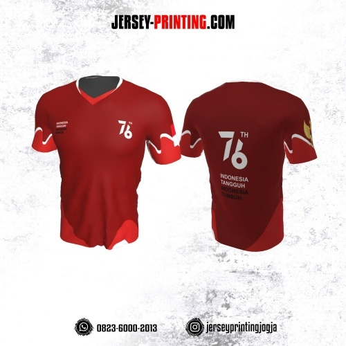 Jersey HUT RI 76 Kemerdekaan Indonesia 17 Agustus Merah Maroon Line Putih