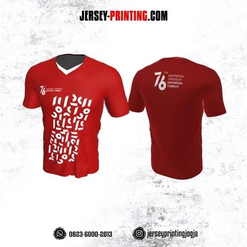 Jersey HUT RI 76 Kemerdekaan Indonesia 17 Agustus Merah Motif Abstrak Putih