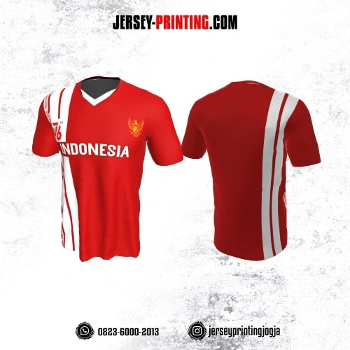 Jersey HUT RI 76 Kemerdekaan Indonesia 17 Agustus Merah Motif Garis Putih