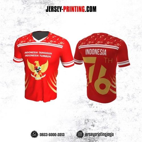 Jersey HUT RI 76 Kemerdekaan Indonesia 17 Agustus Merah Motif Line Putih Kuning