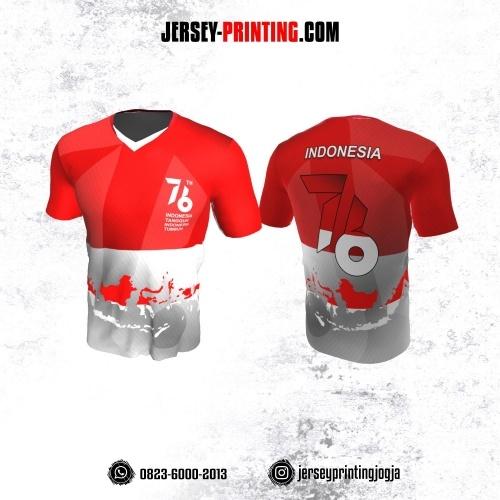 Jersey HUT RI 76 Kemerdekaan Indonesia 17 Agustus Merah Putih Abu-abu Motif Peta