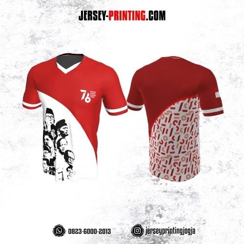 Jersey HUT RI 76 Kemerdekaan Indonesia 17 Agustus Merah Putih Hitam Motif Pahlawan Nasional