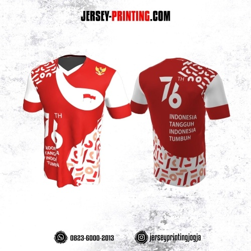 Jersey HUT RI 76 Kemerdekaan Indonesia 17 Agustus Merah Putih Motif Abstrak