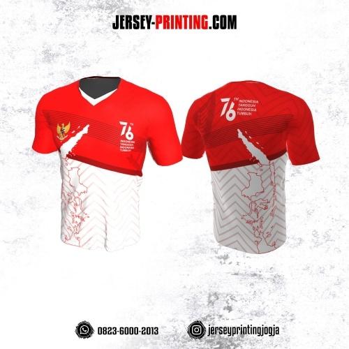 Jersey HUT RI 76 Kemerdekaan Indonesia 17 Agustus Merah Putih Motif Chevron