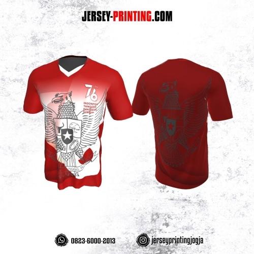 Jersey HUT RI 76 Kemerdekaan Indonesia 17 Agustus Merah Putih Motif Garuda Pancasila Abu-abu