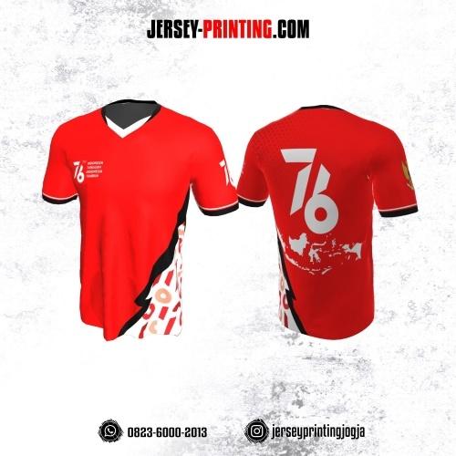 Jersey HUT RI 76 Kemerdekaan Indonesia 17 Agustus Merah Putih Motif Kilat Hitam