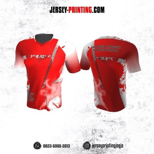 Jersey HUT RI 76 Kemerdekaan Indonesia 17 Agustus Merah Putih Motif Splash Tinta